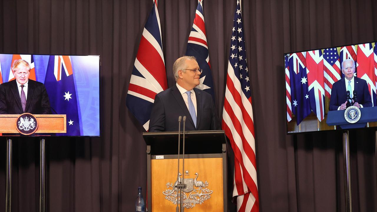 Prime Minister Scott Morrison with Joe Biden and Boris Johnson. Picture: Newswire/Gary Ramage
