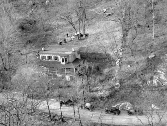 An aerial of Wisteria House in 1934 as detectives swarmed over the property searching for the remains of Grace Budd and Fish's other victims. Picture: NY Daily News Archive/Getty.