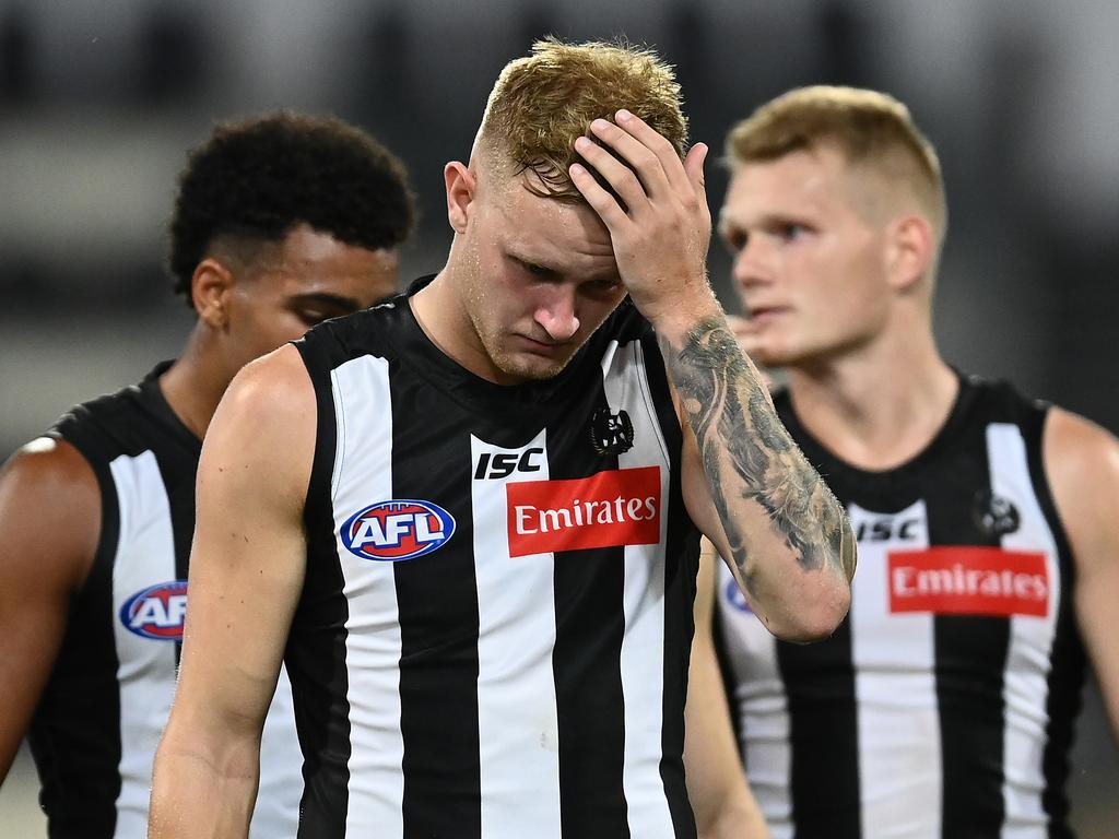 BRISBANE, AUSTRALIA - OCTOBER 10: Jaidyn Stephenson of the Magpies look dejected after the AFL First Semi Final match between the Geelong Cats and the Collingwood Magpies at The Gabba on October 10, 2020 in Brisbane, Australia. (Photo by Quinn Rooney/Getty Images)