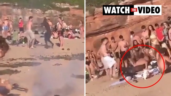 Hundreds of sunbathers brawl in front of terrified families