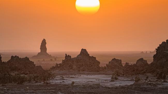 7/20Heliophobia Fear of the sun. (Pictured: Lake Abbe, Djibouti)