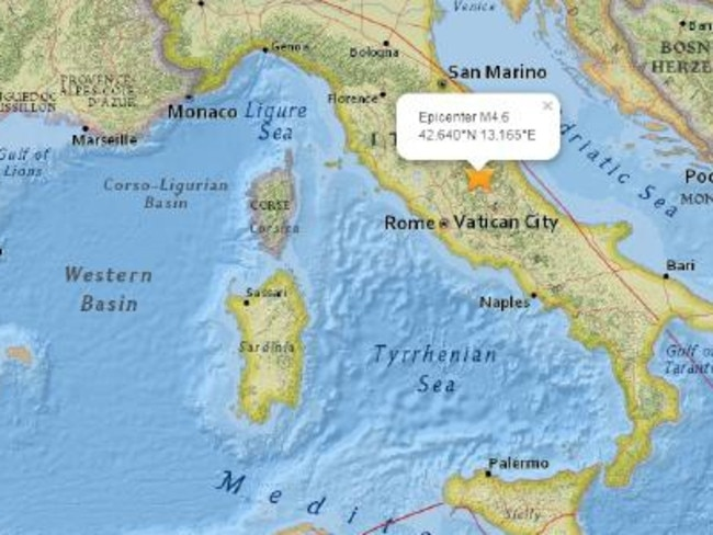 A 6.2 magnitude earthquake has caused widespread destruction in central Italy. Picture: Googlemaps.