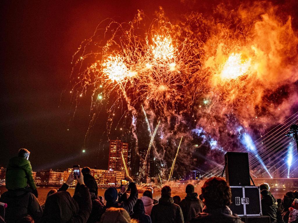 People watch special children's fireworks near the Erasmus Bridge in Rotterdam, The Netherlands. Picture: AFP