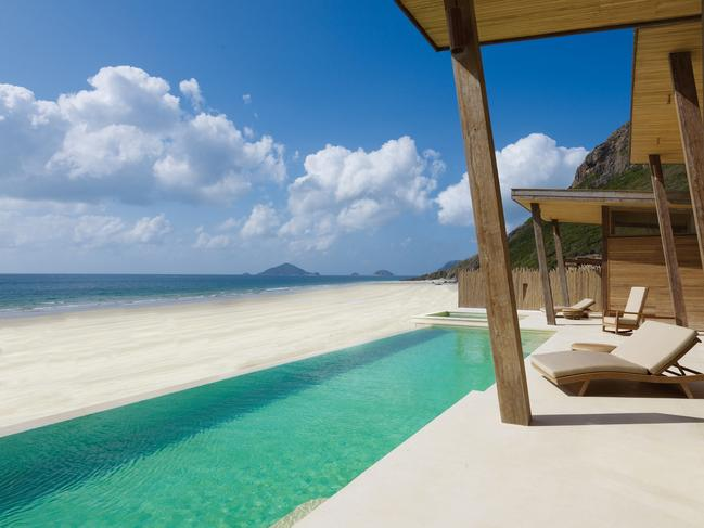 SIX SENSES CON DAO Castaway charm and barefoot luxury are on offer at the Six Senses Con Dao, a pleasantly private place occupying an island in the South China Sea a stone's throw from Vietnam's south coast, letting residents withdraw to private pool villas snuggled between the mountains and sand.
