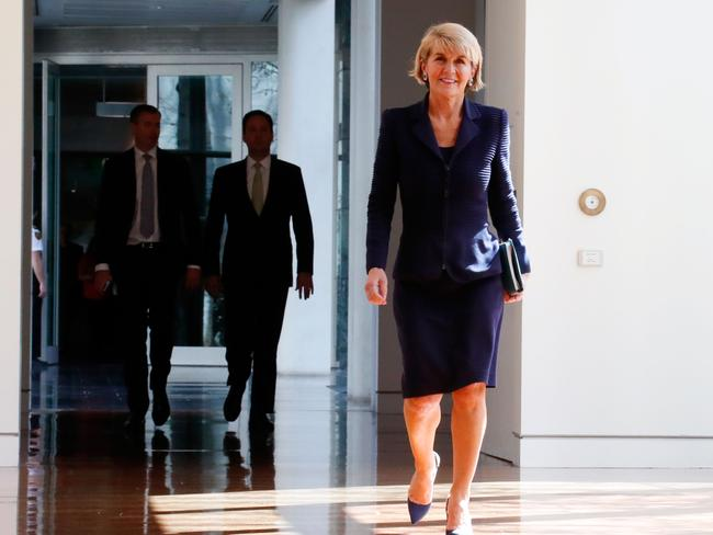 Julie Bishop has done her time and proven herself, but it's not enough for the Liberal Party. Picture: AFP