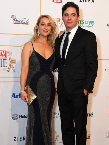 Seven-time Logie winner and Offspring lead Asher Keddie with Vincent Fantauzzo. Picture: AAP