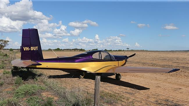 A plane made an emergency landing in a field north of the Murray Bridge airport. Picture: