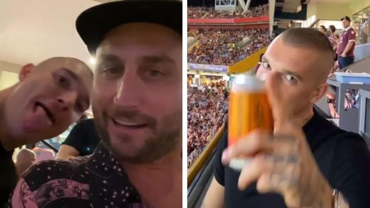 Dustin Martin and DJ Paul Fisher were behind Queensland in the Origin decider. Picture: @followthefishtv