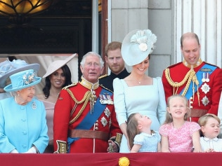 LONDON, ENGLAND - JUNE 09:  Princess Anne, Princess Royal, Princess Beatrice, Lady Louise Windsor, Prince Andrew, Duke of York, Queen Elizabeth II, Meghan, Duchess of Sussex, Prince Charles, Prince of Wales, Prince Harry, Duke of Sussex, Catherine, Duchess of Cambridge, Prince William, Duke of Cambridge, Princess Charlotte of Cambridge, Savannah Phillips, Prince George of Cambridge and Isla Phillips watch the flypast on the balcony of Buckingham Palace during Trooping The Colour on June 9, 2018 in London, England. The annual ceremony involving over 1400 guardsmen and cavalry, is believed to have first been performed during the reign of King Charles II. The parade marks the official birthday of the Sovereign, even though the Queen's actual birthday is on April 21st.  (Photo by Chris Jackson/Getty Images)