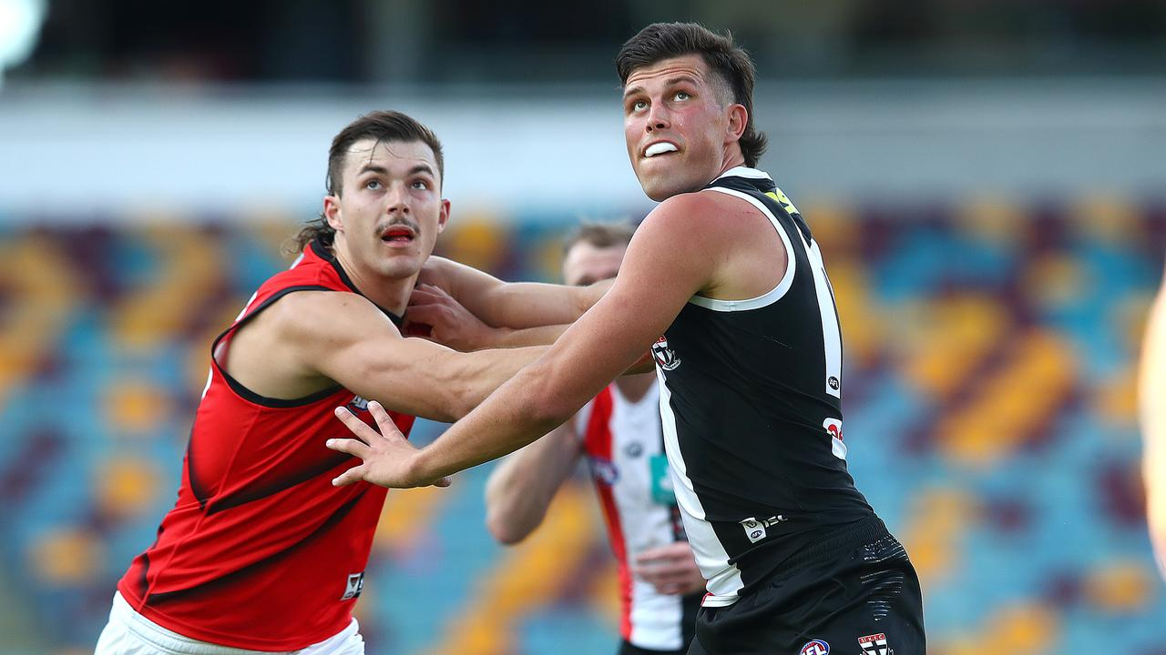 Sam Draper competes with Rowan Marshall. Picture: Jono Searle/Getty Images