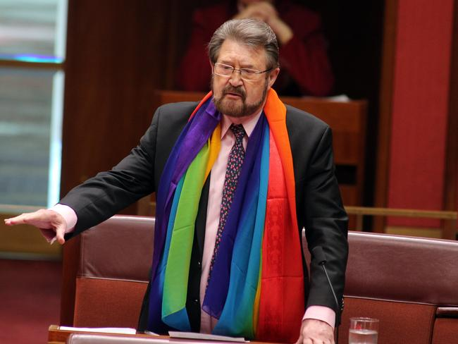 Debate over Derryn Hinch's rainbow scarf — and whether he should remove it — has hijacked more than 40 minutes this morning as the senate attempts to pass a bill to make gay marriage legal. Picture Gary Ramage