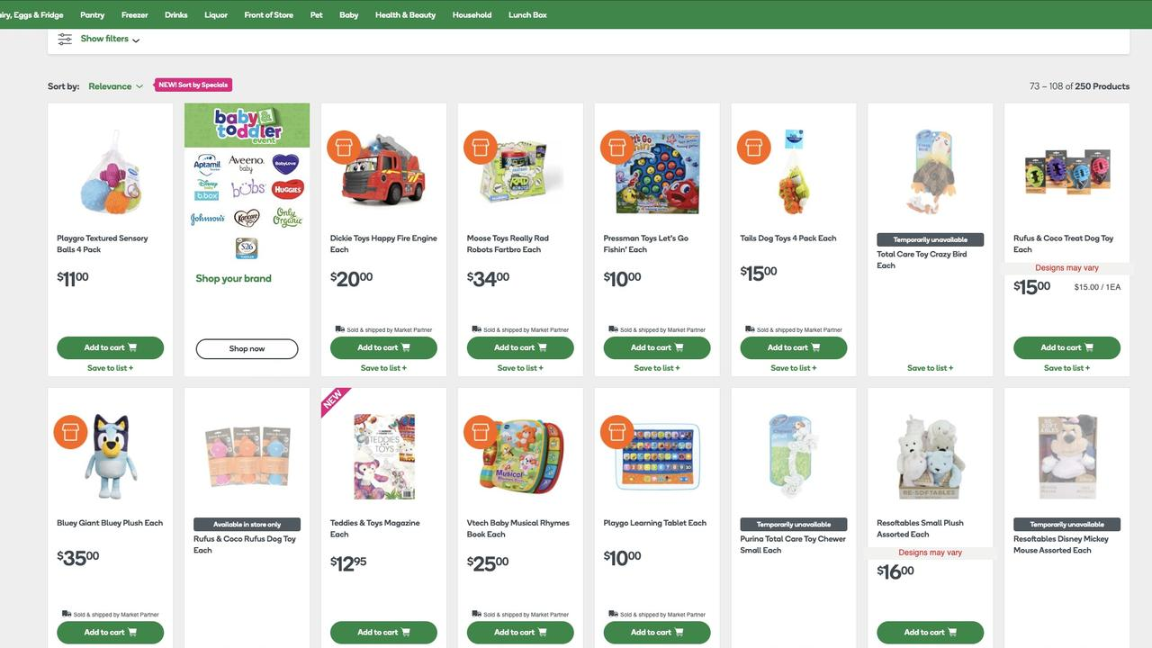 A snapshot of the products that people can now buy online at Woolworths. Picture: Supplied