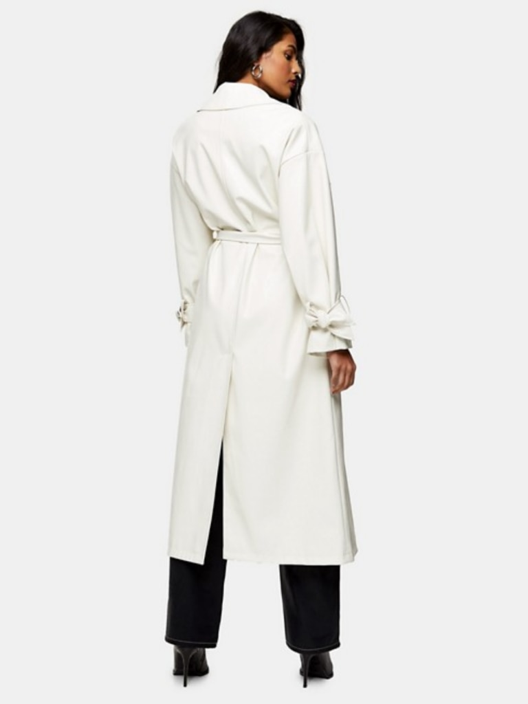 Topshop Belted Maxi Faux Leather Trench Coat in Ivory, back. Image: ASOS.