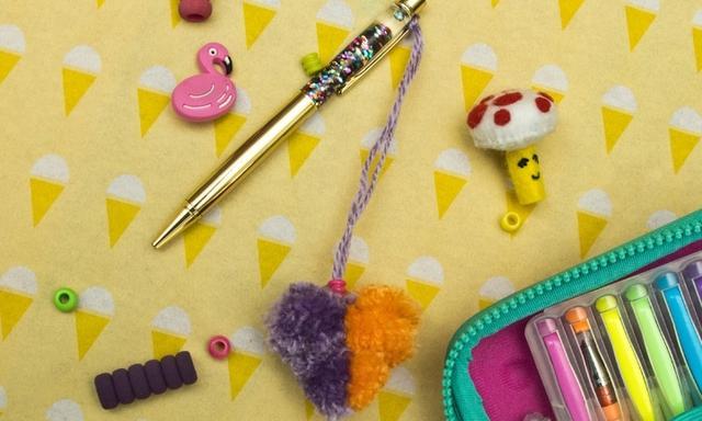 Heart pom pom craft for kids: Make a bag charm or pen decoration