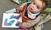 Do some mess-free baby painting with your baby