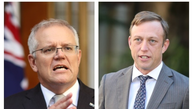 Deputy Premier Steven Miles (right) has taken aim at Prime Minister Scott Morrison (left) for his reopening plan. Picture: NCA