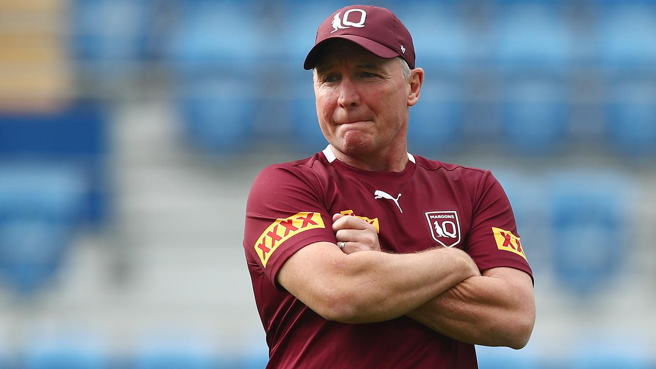 Coach Paul Green looks on during a Queensland Maroons training session