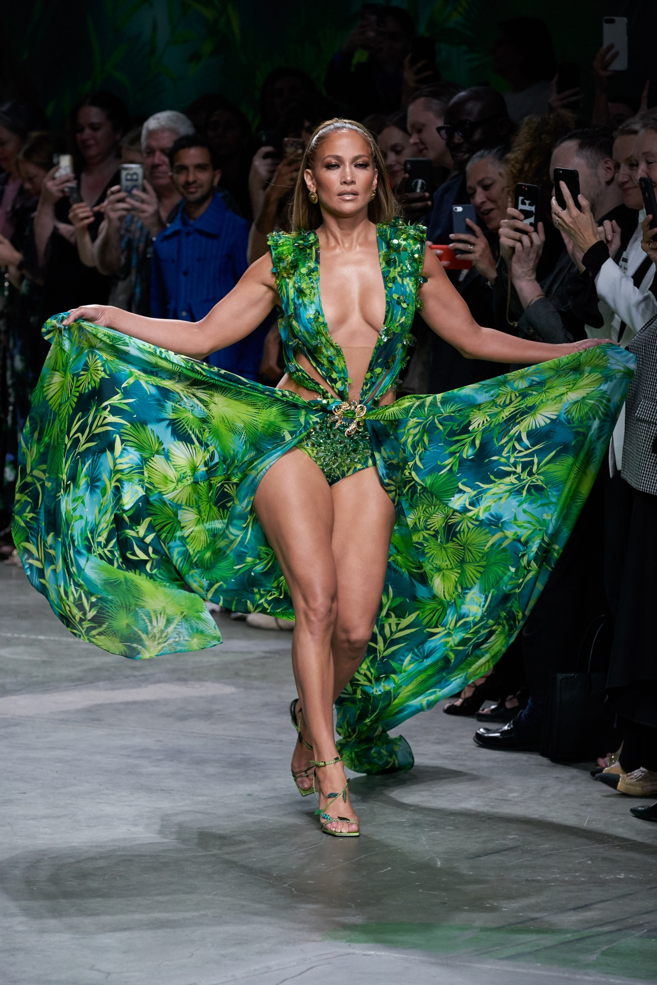 Jennifer Lopez closed the Versace show in her iconic green Grammys dress