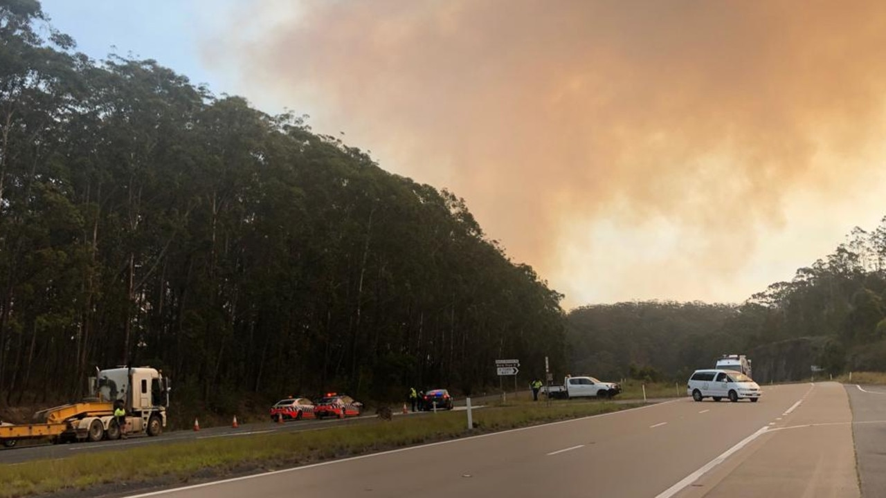 John's River fire in NSW. The Pacific Highway was closed for 15 hours and Kirra's mum had to wait to return home. Picture: supplied