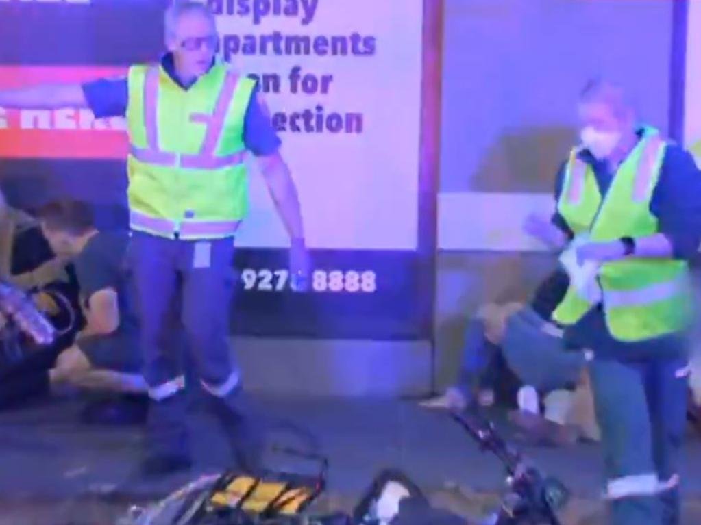 Paramedics at the scene. Picture: Seven News