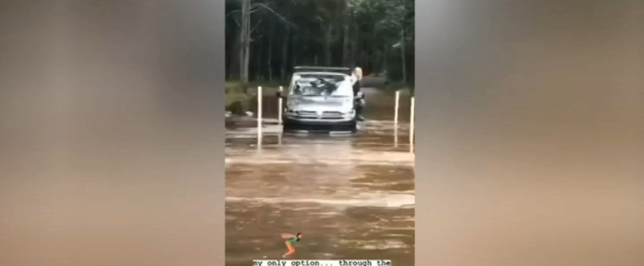 Footage shows Chris Hemsworth's wife caught in NSW flood waters