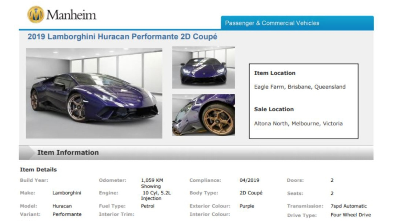 Bidding for the car opens at $395,000.