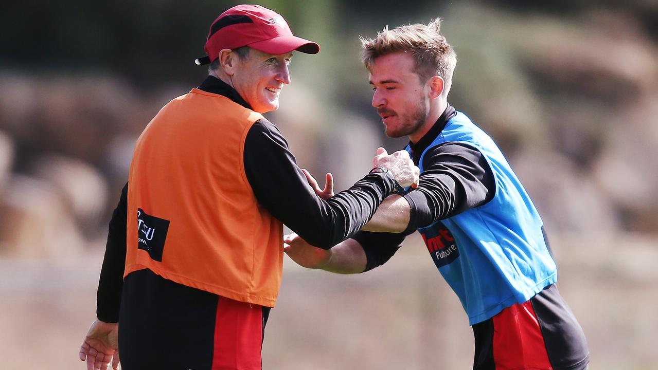 John Worsfold wrestles with Martin Gleeson at a training session this year.