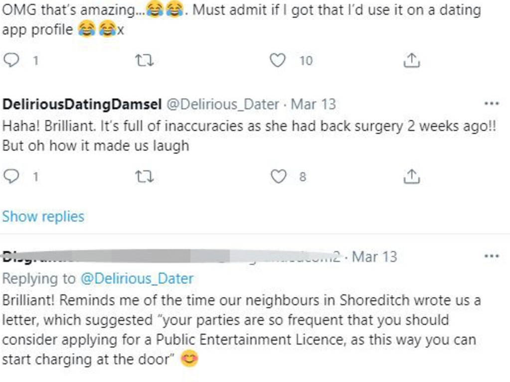 But the woman explained that her daughter has been recovering from back surgery, with many in hysterics over the neighbour's letter. Picture: Twitter/Delirious_Dater