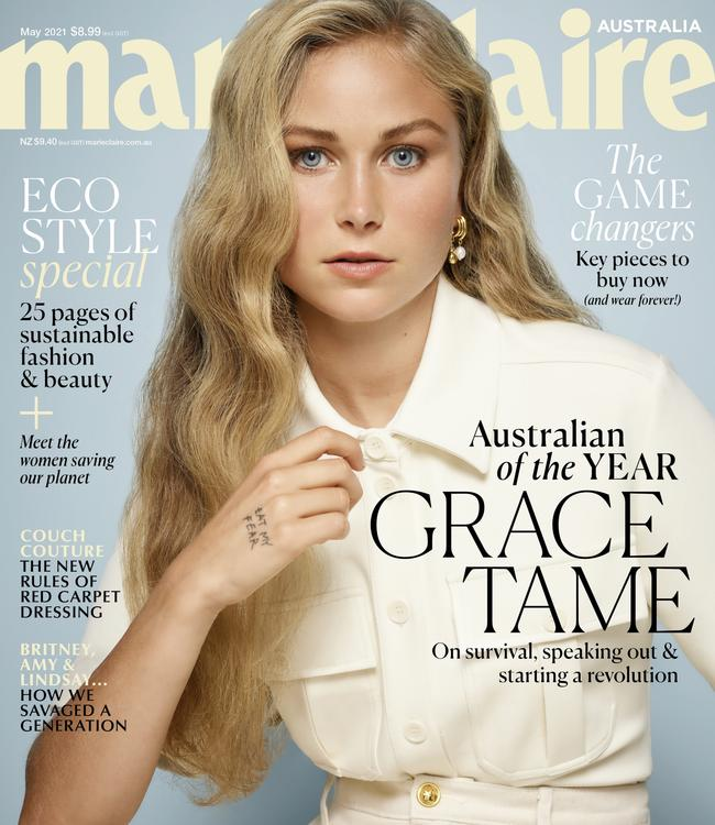 Grace Tame appears on the cover of Marie Claire. Source: Marie Claire Australia