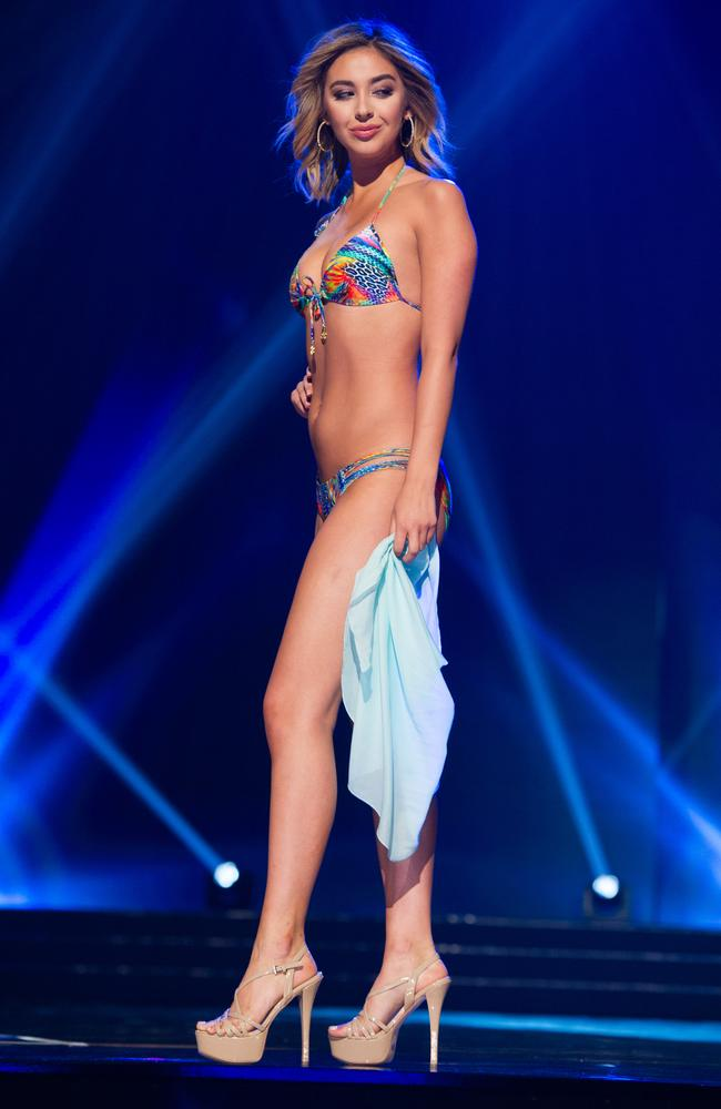 Nadia Mejia, Miss California USA 2016, competes during the 2016 Miss USA pageant. Picture: AFP