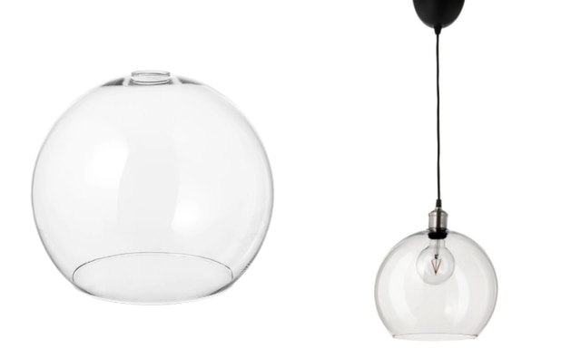 What the 'fishbowl lampshade' looked like IRL. Source: IKEA.