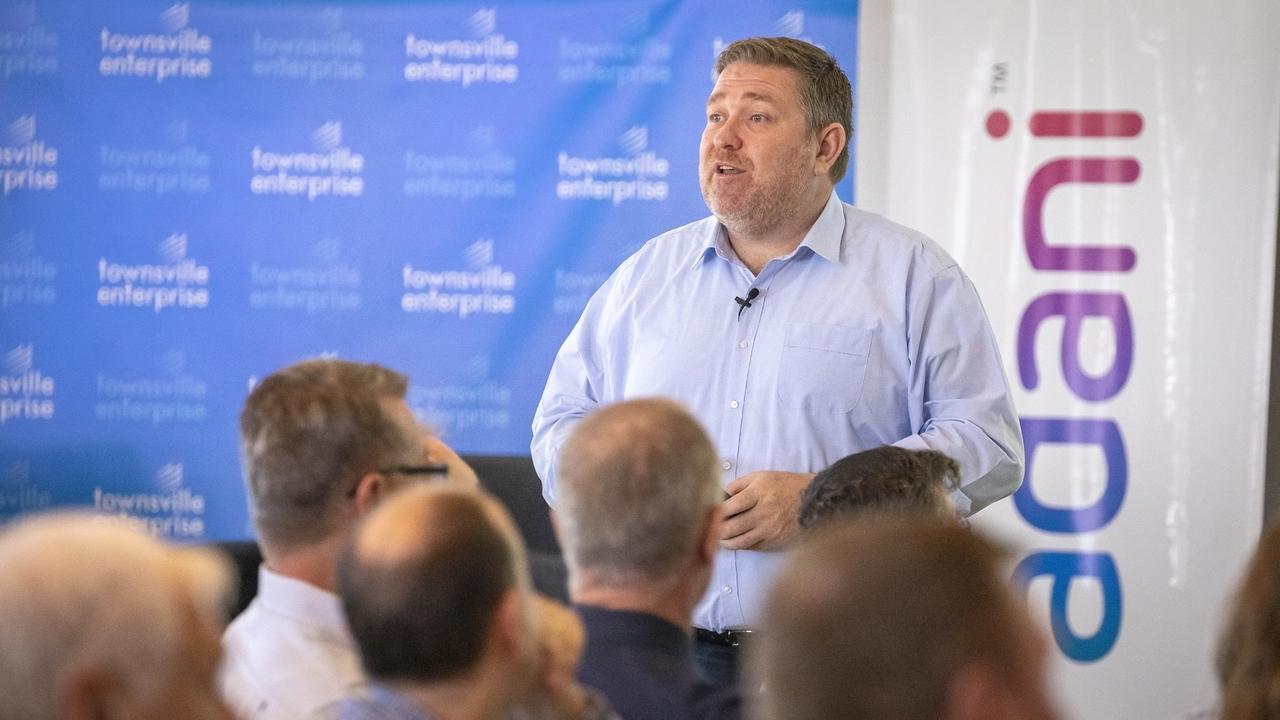 Adani Australia CEO Lucas Dow speaks at a business breakfast co-hosted by Townsville Enterprise