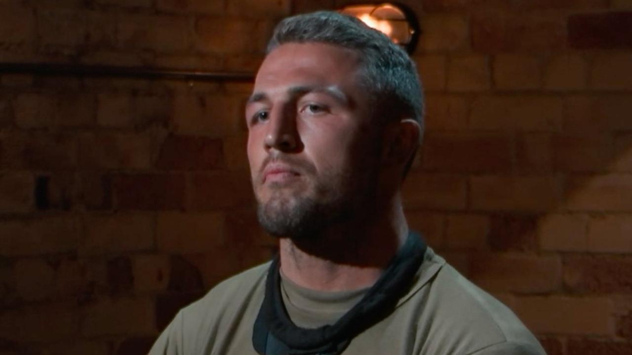 Sam Burgess being interrogated. Photo: Channel 7