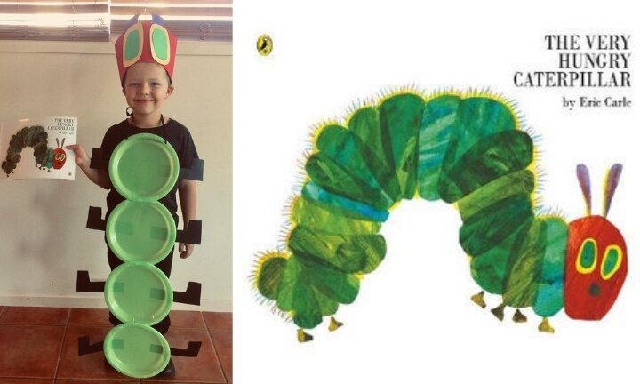 <b>THE VERY HUNGRY CATERPILLAR.</b>  Five-year-old Hunter looks like the cutest caterpillar we've ever seen with some simple paper plates and a cardboard hat. Little Hunter is proof you don't need to spend a fortune to come up with a memorable costume.