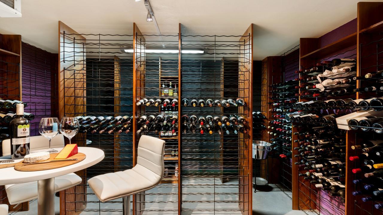 The impressive wine cellar.