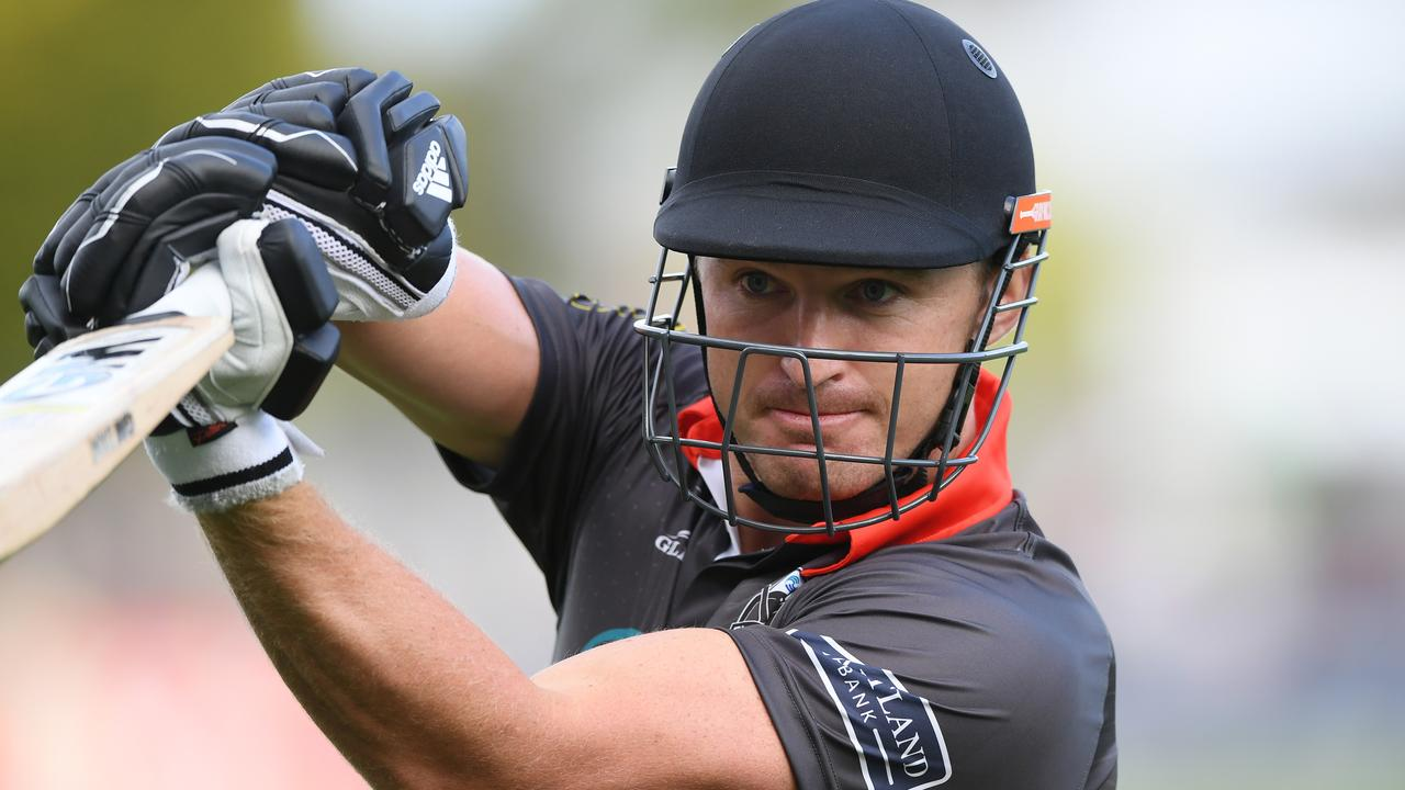 Beauden Barrett bats during the T20 Black Clash at McLean Park in January.