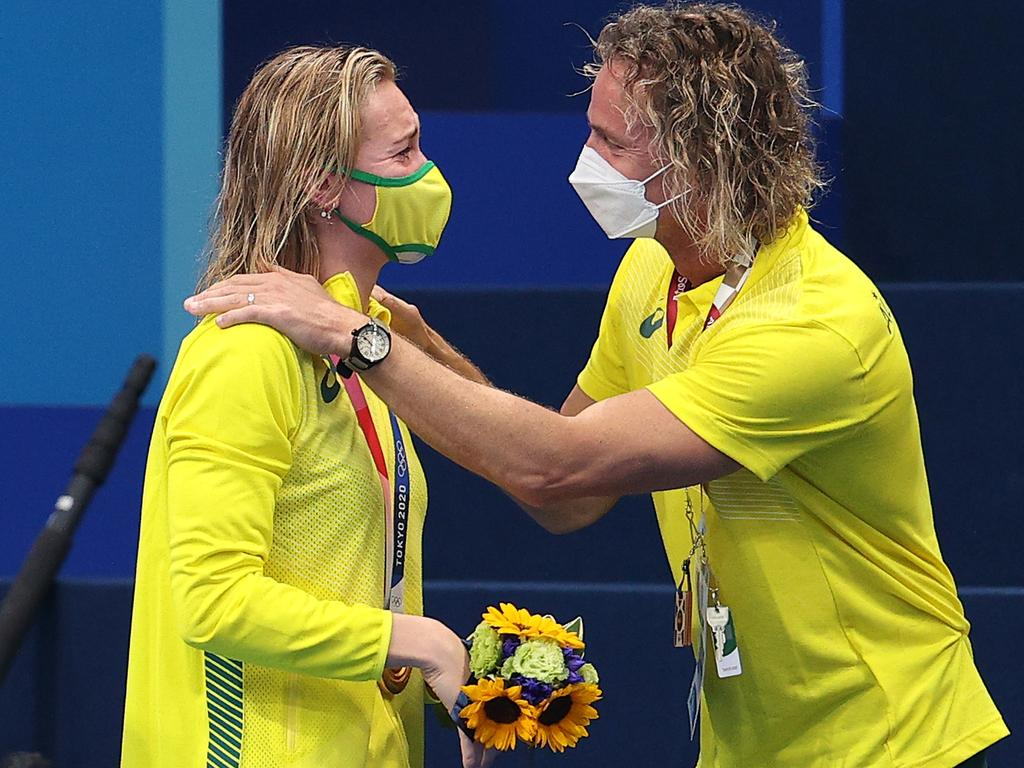 Ariarne Titmus of Team Australia reacts with her coach Dean Boxall.