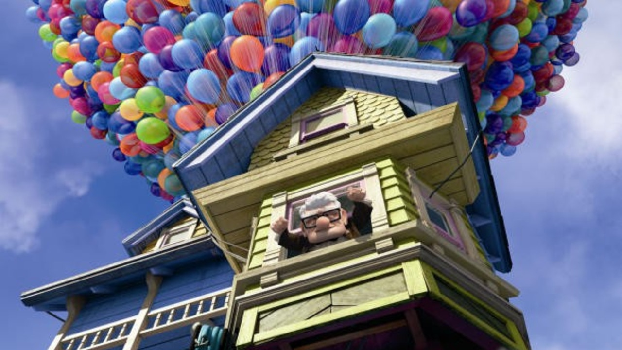 UP AND AWAY: Carl Fredericksen's saved his house by tying balloons to it and piloting to Paradise Falls.