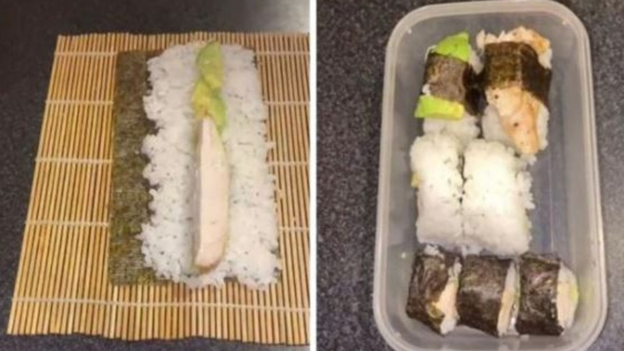 Legacy-Shay made homemade chicken and avocado sushi for her partner's lunch. Picture: TikTok/@munchieswithlegz.