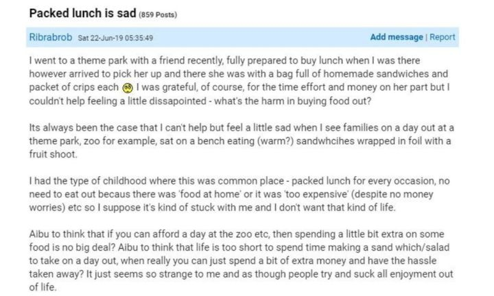 The mum took to Mumsnet to express her outrage. Source: Mumsnet