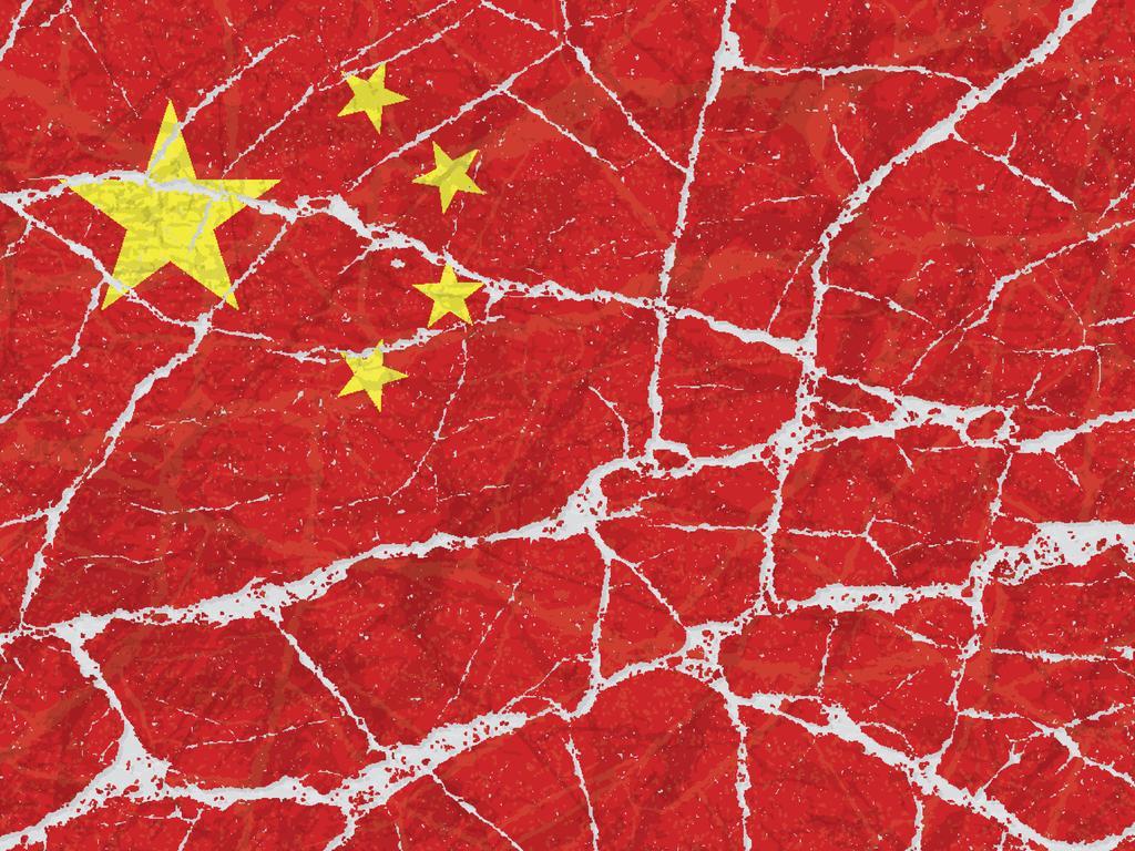Cracked broken grunge textured flag of China.