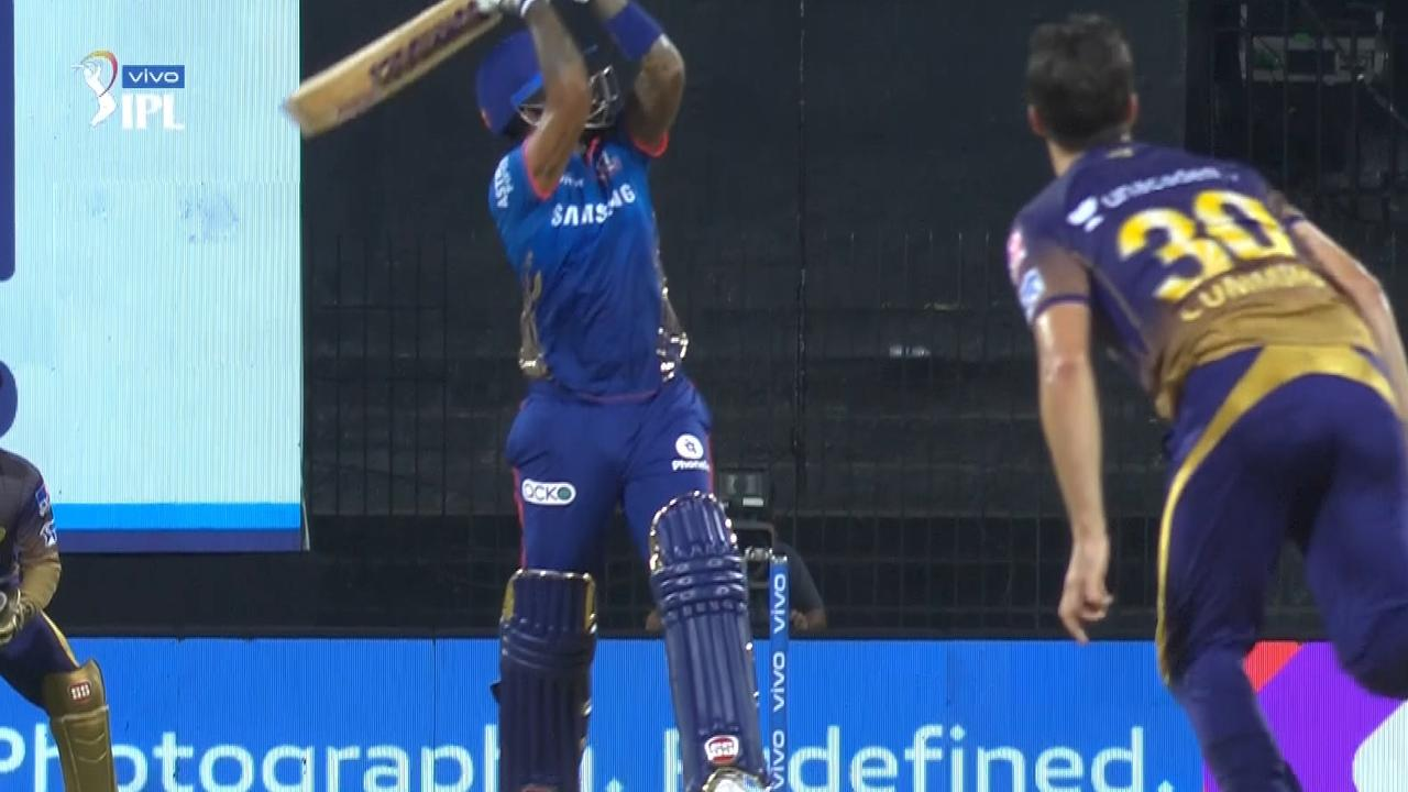 Pat Cummins was hit onto the roof in the IPL. Photo: Fox Sports