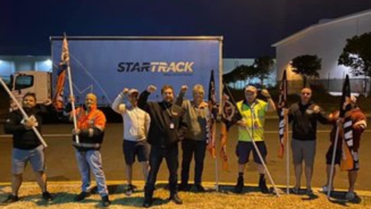 Striking StarTrack workers walked out at midnight last night over job security concerns. Picture: Twitter/Emily McMillan