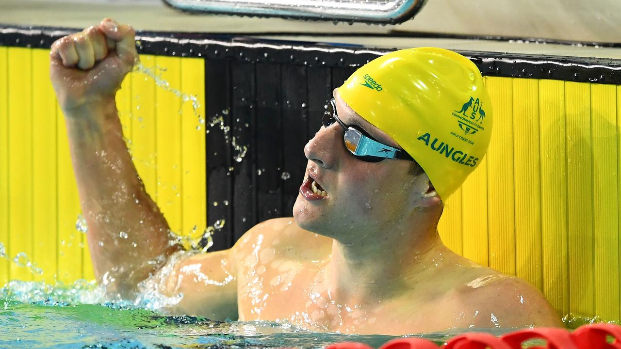 Jesse Aungles of Australia celebrates victory in the Men's SM8 200m Individual Medley Final. Picture:  Quinn Rooney/Getty Images