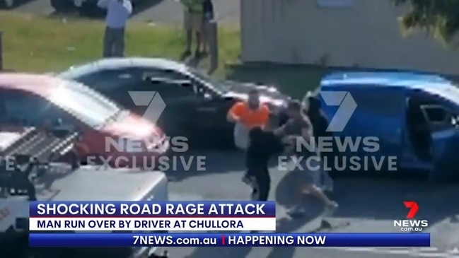Driver run over in alleged road rage attack (7 News)