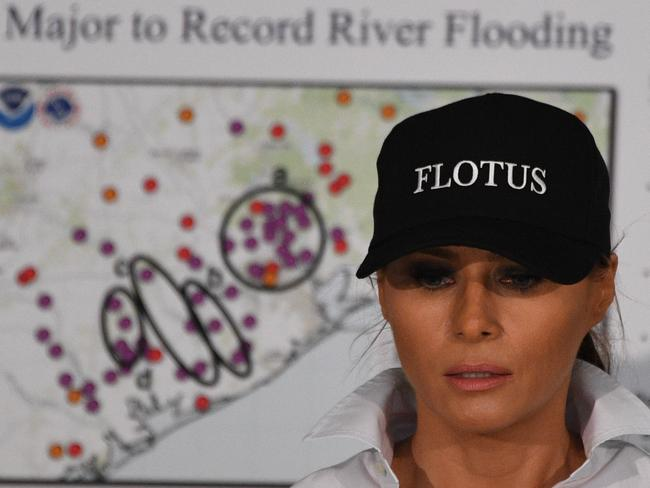 US First Lady Melania Trump listens during a firehouse briefing on Hurricane Harvey in Corpus Christi, Texas on August 29, 2017. Picture: AFP.