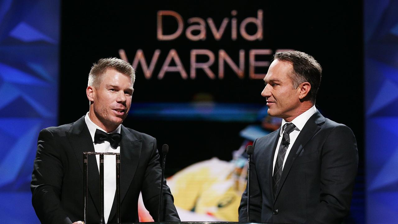 Michael Slater and David Warner. (Photo by Michael Dodge/Getty Images)