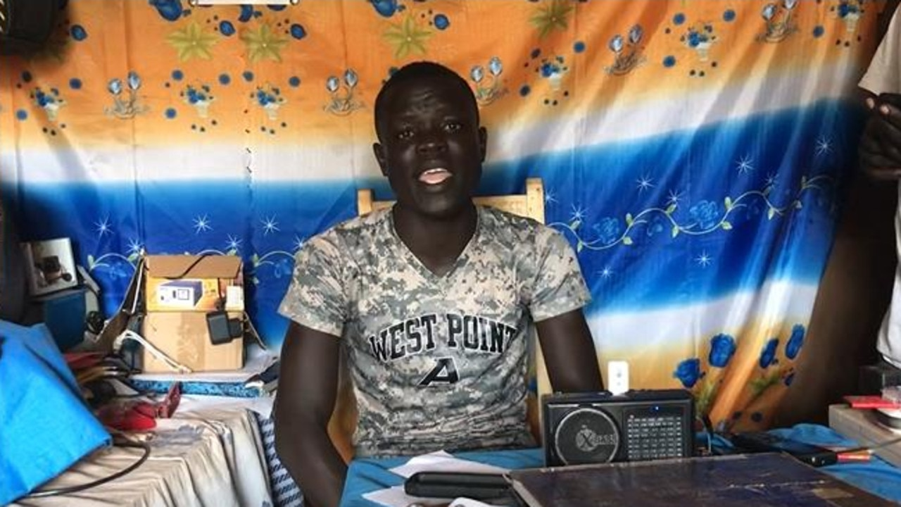 In this still image from the video, a teenager sings to share information about COVID-19 at Bidi Bidi. Picture: World Vision