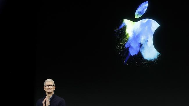 Apple CEO Tim Cook speaks during an announcement of new products in Cupertino, California on Wednesday, May 3, 2017. Picture: Marcio Jose Sanchez