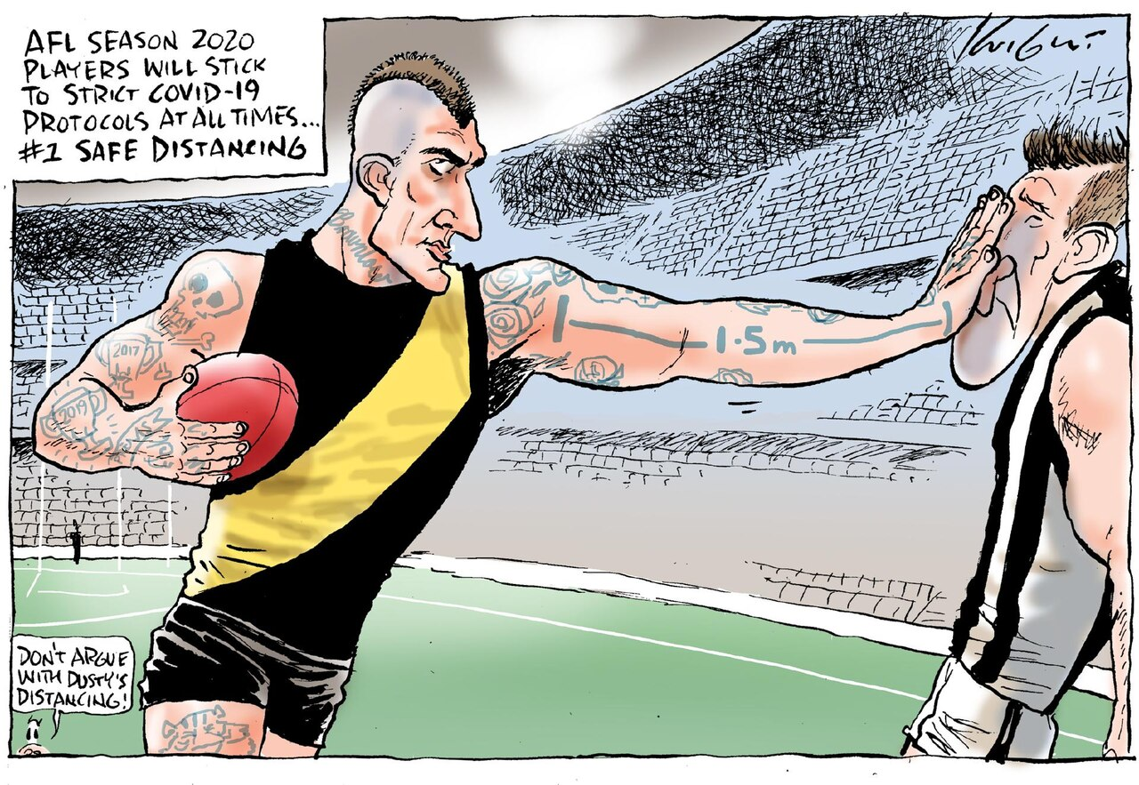 Mark Knight's cartoon on how the AFL players will return to playing and continue to follow COVID-19 health guidelines.